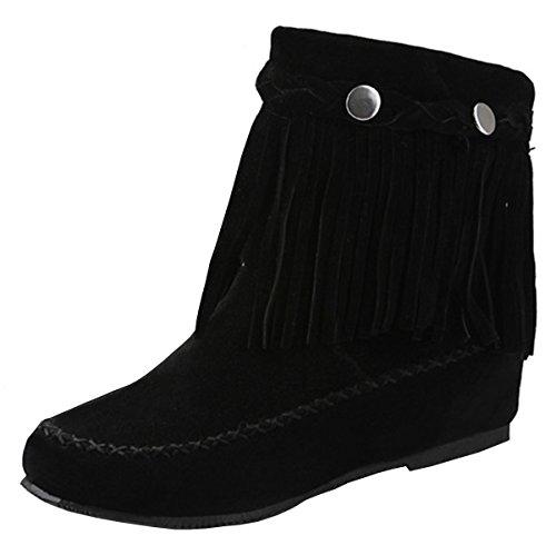 YE Damen Herbst Flache Wildleder Retro Stiefeletten mit Fransen Nieten Casual Short Ankle Boots...