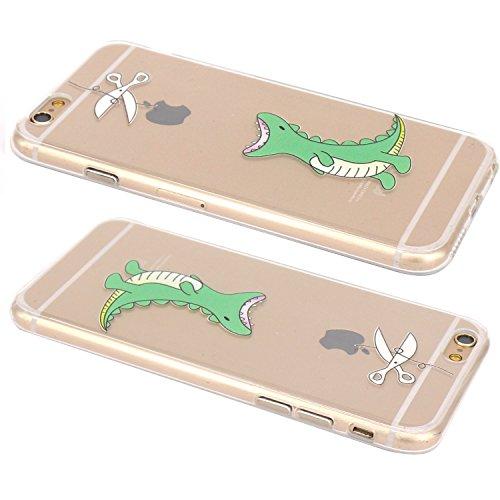 JIAXIUFEN Neue Modelle TPU Silikon Schutz Handy Hülle Case Tasche Etui Bumper für Apple iPhone 6 6S - Amüsant Wunderlich Design Giraffe eating Apple Color28
