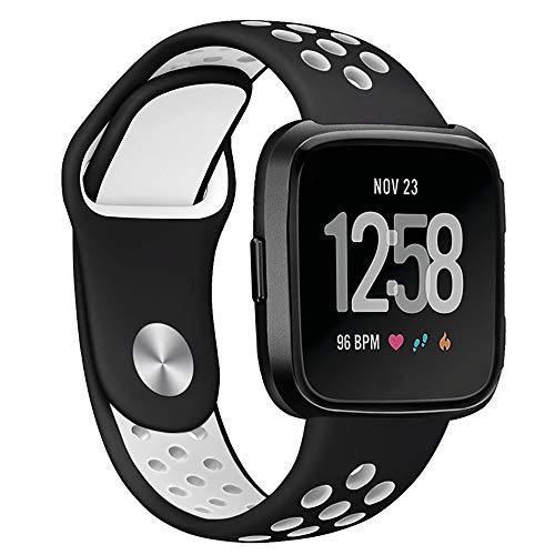 H&T Sport-Uhrenarmband, Silikon Für Apple-Uhrenarmband 38Mm 42Mm 40Mm 44Mm Weiche Atmungsaktive Ersatzarmband Für Iwatch Series 5 4 3 2 1-Damen & Herren,Schwarz