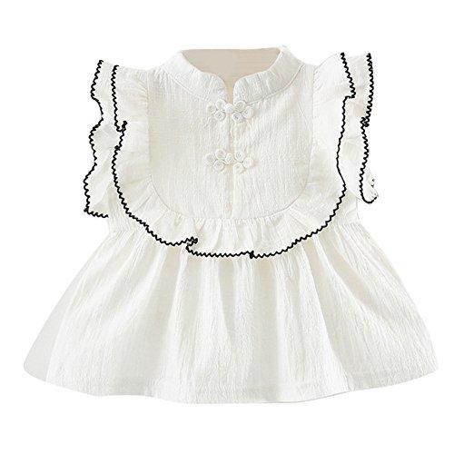 JUTOO Kleinkind Kinder Baby mädchen Kurzarm ethnischen Stil Kleidung Party Prinzessin Kleider (Weiß,90)