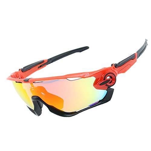 Sportbrille Wechselgläser Fahrradbrille Klar Damen Herren Wind Reiten Brille Vier Linsen Windschutzscheibe Windschutzscheibe Rot Schwarz Schwarz Frame+4 Gläser Kit