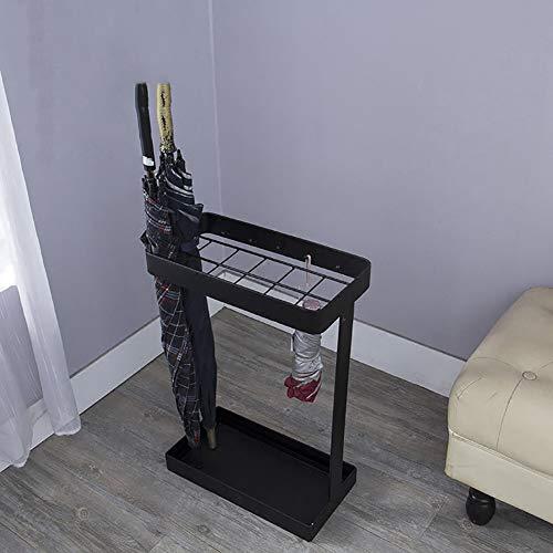 Schirmständer Rechteckiger Metall mit Tropfschale / 5 Haken, 12 Löcher, Ideal für Eingangsveranda (Color : Black) - Tropfschale 12