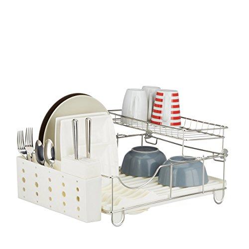 Relaxdays 10020385 Egouttoir à Vaisselle avec Porte Couvert Plastique INOX Grille Assiette étage HxlxP: 22 x 50,5 x 34 cm- Beige