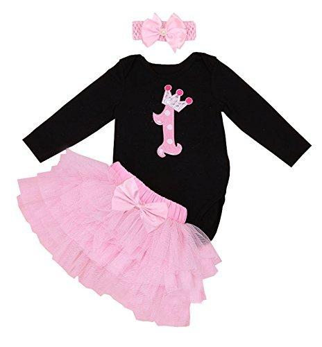 BabyPreg Babys lange Ärmel 1. Geburtstag-Tutu-Ausstattungs-Kleid-Stirnband (XL/12-18 Monate, Schwarzes Rosa)