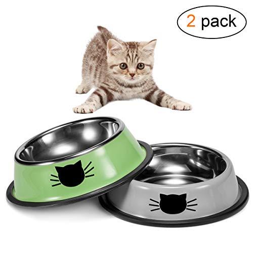 Zubita Comederos para Gatos, Cuencos Antideslizantes-Plato Gatos de Acero Inoxidable para Mascotas, Perros, Gatos. Dos Unidades(Verde y Gris)