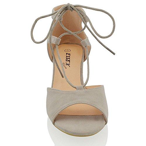 Essex Glam Sandalo Donna Peep Toe Tacco Basso a Blocco con Lacci Grigio Finto scamosciato