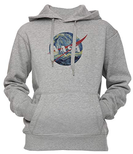 The Starry NASA - Van Gogh Unisex Herren Damen Kapuzenpullover Sweatshirt Pullover Grau Größe M Men's Women's Hoodie Grey Medium Size ()