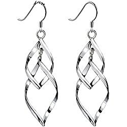 Lieberpaar Damen Doppel Leaves 925 Sterling Silber Quasten Ohrring
