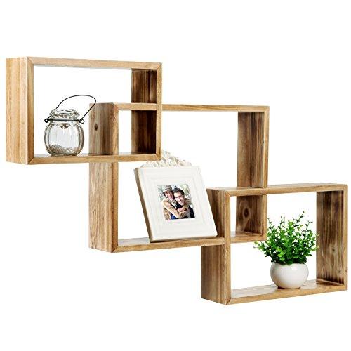 MyGift Wandmontage Holz ineinander Shadow Boxen, regalscheiben Display Karton, Set von 3, holz, Torched Natural Wood, M