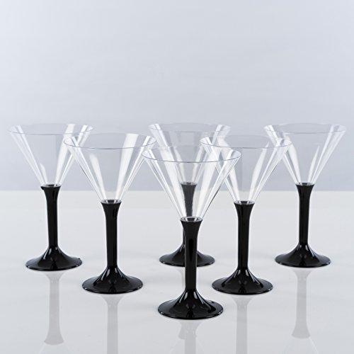 Cocktail Becher Einweg von 6/Martiniglas–Ideal für Partys Zeitgenössisch–Schwarze Beine