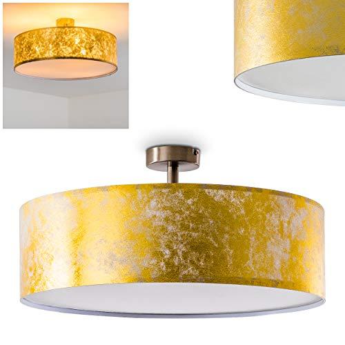 Deckenleuchte Foggia, runde Deckenlampe mit Lampenschirm aus Stoff in Gold/Weiß, Ø 50 cm, LED-fähig, 3 x E27-Fassung, 40 Watt, Retro-Design -