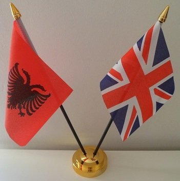 Albania Albanian Union Jack 2 Flag Friendship Table Display With Gold Base by Flag Co