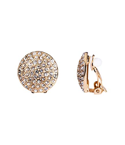 SIX Funkelnde goldfarbene Ohrclips für Damen: Runde Ohrringe in gold mit funkelnde Strasssteinen - Glam Skelett Kostüm
