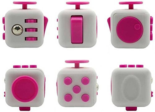 Fidget PVC Cube Stress and Anxiety Reliever for Children and Adults - Helpful in Improving Focus (White and Pink)