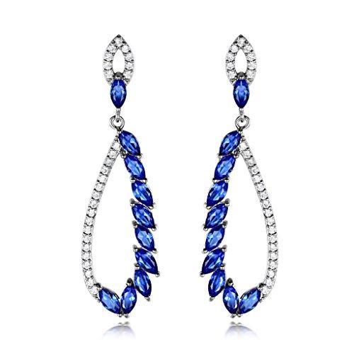 GULICX Silber-Ton Ohrringe Marquise Saphirblau Strass lang Ohrhänger Tropfen Chandelier (Anspruchsvolle Braut Der Mutter Kleid)