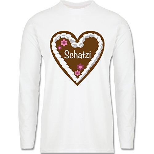 Oktoberfest Herren - Lebkuchenherz Schatzi - Longsleeve / langärmeliges T-Shirt für Herren Weiß