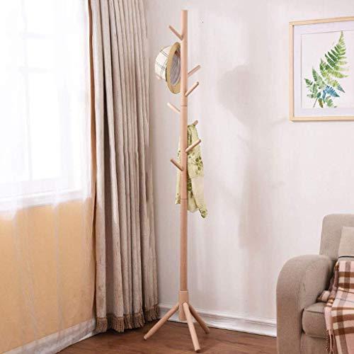 Perchero de madera piso dormitorio simple ropa rack sala de estar porche solo poste percha (8 ganchos),Yellow
