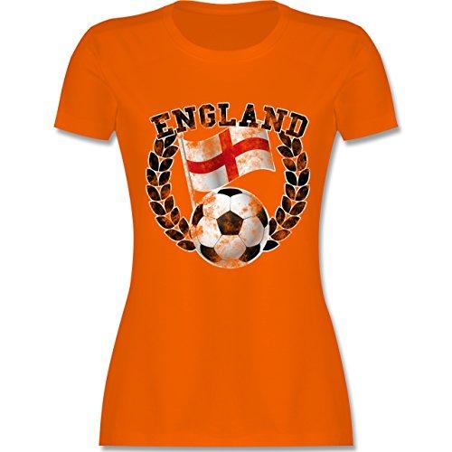 EM 2016 - Frankreich - England Flagge & Fußball Vintage - tailliertes Premium T-Shirt mit Rundhalsausschnitt für Damen Orange