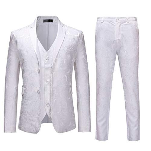 AIni Herrenanzug Dünner 3 Teiliger Anzug Blazer Business Hochzeits Festjacke Weste Und Hose Warm Mäntel Jacke Coat Neuheit 2019(S,Weiß) (Coat Rosa Pea Wolle)