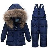 Baby Kinder Set Daunenjacke mit Kaputze Bekleidungsset Baby Kinder Junge Mädchen Verdickte Winterjacke + Winterhose Kleinkind Daunenhose Jacket Mantel (blau, Höhe 80CM-85CM (Etikett 80))
