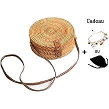 Bolsa de redondo bolsa saco ratán de playa redondo Mujer Paja Bolso vid de la mano