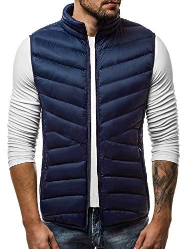 OZONEE Herren Weste Modern Täglichen Zip Steppweste Vest Ärmellos Jacke Sportswear Übergangs 777/215KA DUNKELBLAU S