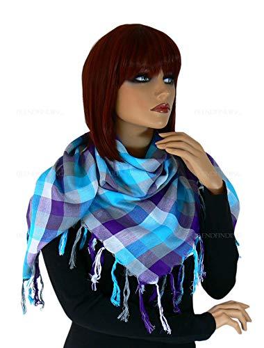 trendfinding Écharpe foulard été Chiffon Carreaux Carreaux avec franges Carreaux Viscose Viscose - Bleu - Large