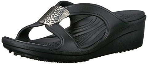 Crocs Women's Snrhembllshdwdg Wedge Sandal, Black (Black/Silver Metallic), 39-40