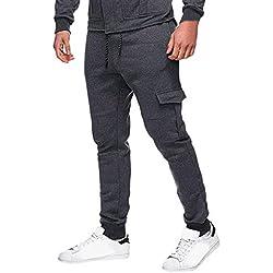 Kobay Hommes Les Pantalons De SurvêTement Pantalon DéContracté Sport éLastique à Poches Bouffantes(Medium,Gris foncé)