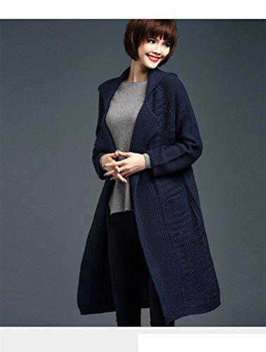 MatchLife Femme Longues Manteau pull Cardigan Style2-Bleu