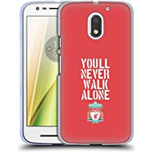 Official Liverpool Football Club Stencil Red Crest You'll Never Walk Alone Soft Gel Case for Motorola Moto E3 Power