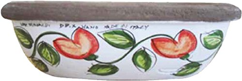 Fioriera per piante e fiori in ceramica artistica dipinta a mano; lunghezza cm. 25; altezza cm.10; profondita' cm. 13.