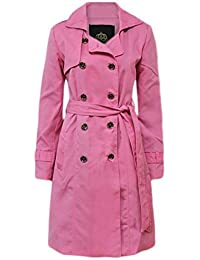 CANDY FLOSS NEW WOMENS TRENCH BUTTON LADIES MAC DOUBLE BREASTED BELTED COAT ZIP JACKET TOP