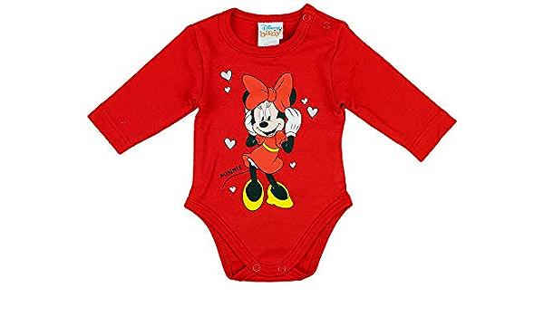 Babybogi Baby Body Disney Minnie Maus Motiv Langarmbody mit Herzen-Aufdruck f/ür M/ädchen 56 62 68 74 Bodys Top Bekleidung