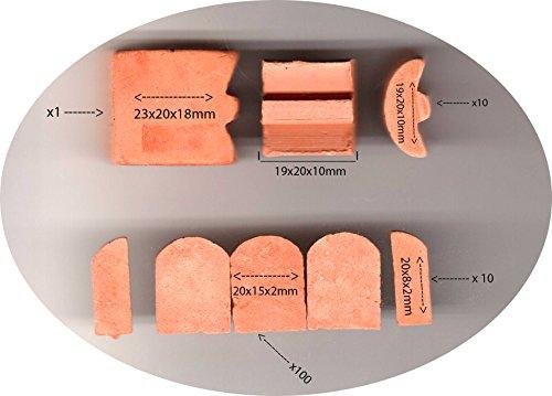 ALEA Mosaic Backstein Dachziegel für SteinBaukasten 20x15x2mm, 20x8x3, 19x20x10, 23x20x18 -,120 Stück-