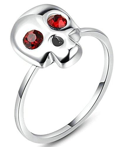 Gnzoe Gioielli, Placcato argento Skull Rosso Diamante Fidanzamento Anello di Nozze Donna