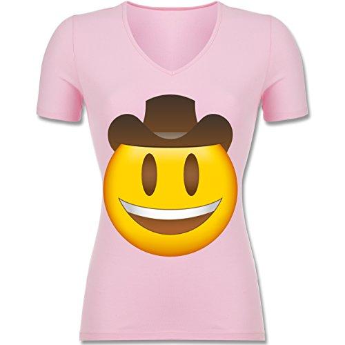 Shirtracer Comic Shirts - Emoji Cowboy-Hut - Tailliertes T-Shirt mit V-Ausschnitt für Frauen Rosa