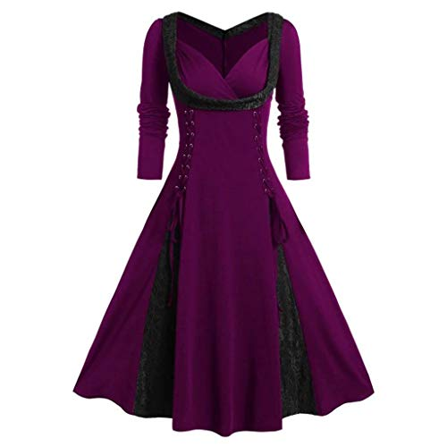 serliyDamen 50er Jahre Cocktailkleid Elegantes Faltenrock Festliches Partykleider Vintage Kleid Audrey Hepburn Abendkleider mit Plaid Knielang A-Line Lady Girl Empire Party Kleid -