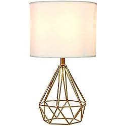 Lámpara de Mesa, con innovadora Base de Estilo Jaula Lámpara de Escritorio para Estudio, Dormitorio, Salón, mesilla de Noche