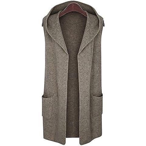 CU@EY Lungo Cardigan Da donna-Casual / Taglie forti Semplice / Moda città Tinta unita Marrone / Grigio Con cappuccio Senza manicheLana / Cotone , dark gray , 5xl