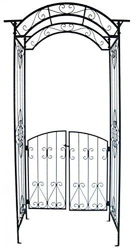 TWC Warenhandel Plus - Garten und mehr Riesiger Rosenbogen aus Metall Garten Pforten Tor Garten 235 cm hoch - aus beschichtetem Metall mit kunstvollen Verzierungen