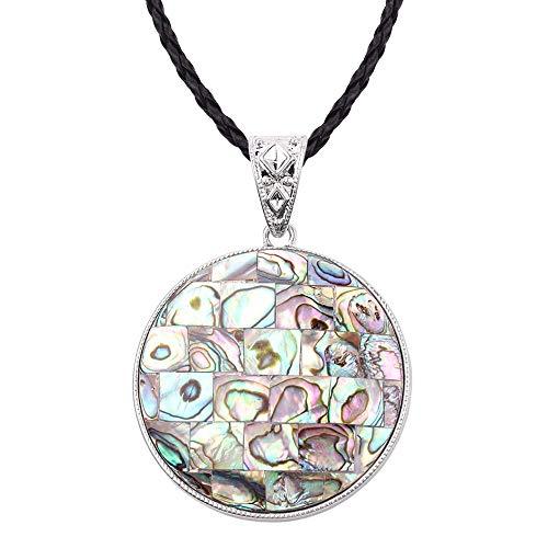 Geschenkenatürliche Abalone Perle Auster Einseitig Anhänger Europäischen Und Amerikanischen Stil Mode, Große Runde Halskette Blau ()