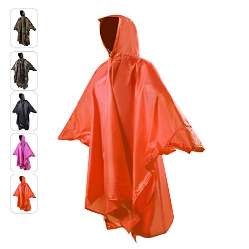 REDCAMP Waterproof Rain Poncho with Hood and Arms for Camping Hiking, 3 in 1 Multifunctional Lightweight Reusable Raincoat Poncho for Men Women Adults