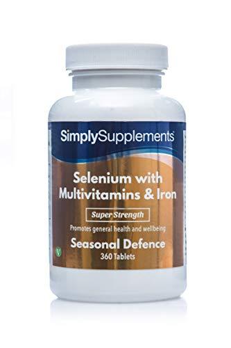 Selenio 220 mcg con Multivitaminici e Ferro - 360 compresse - Adatto ai vegetariani - 1 anno di trattamento - SimplySupplements