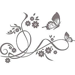 GRAZDesign 560000_50_090 Wandtattoo Blumen | Blumentattoo für Wohnzimmer - Schlafzimmer - Küche | Blumenranken und Pflanzen an die Wand als Wand-Aufkleber (74x50cm//090 silbergrau)