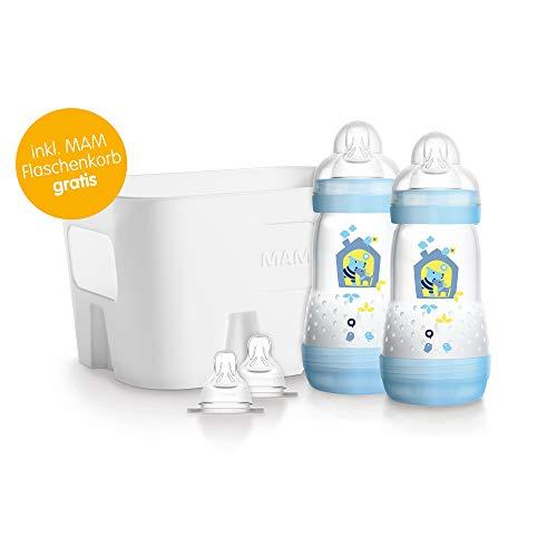 MAM Easy Start Anti-Colic Flaschen-Set – Babyflaschen Set mit 2 Anti-Kolik-Flaschen (260 ml), 2 Sauger Größe 1 & Flaschenkorb – Babyausstattung ab der Geburt, Hunde, blau