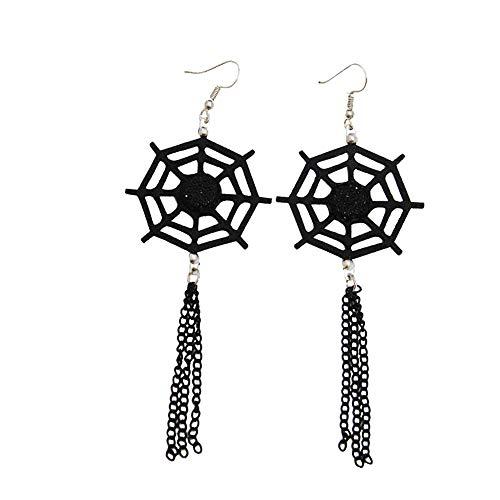 Qinlee Halloween Ohrringe Spinnennetz Lang Ohrhänger Übertrieben Ohrschmuck Damen Mädchen Festival Party Schmuck (Schwarz)
