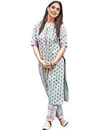 Kurtikor Women's Cotton Straight Printed Kurti with Pant for Young Girl