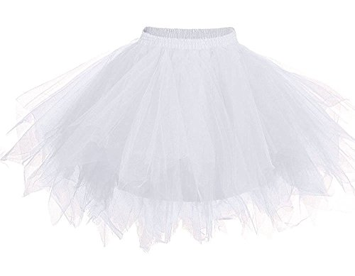 HotQueen Women's 1950s Vintage Tutu Ballet Half Slip Skirt Bubble Dance Tutu Dress White Tutu Dress ()