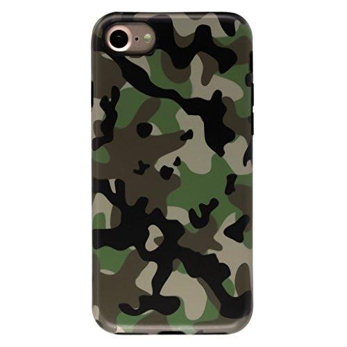 4.7 iPhone 7 SGSELLER TPU Slim Fit Ultra Dünn Stoßfest Anti-Kratz Anti-Fingerabdruck Matt Schutzhülle Gehäuse, Plastik (Marble (Black Green)) Camo (Army Green)